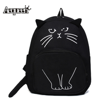 AEQUEEN Lovely Cat Printing Backpack Women Canvas Backpack School Bags For Teenagers Ladies Casual Cute Rucksack Bookbags