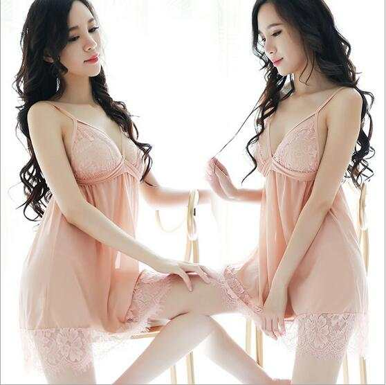 23299c08c23 placeholder Fdfklak Lingerie Sexy 2018 Black Pink Lace Spaghetti Strap  Nightgowns Sleepshirts Nightgowns For Girls Sleeveless