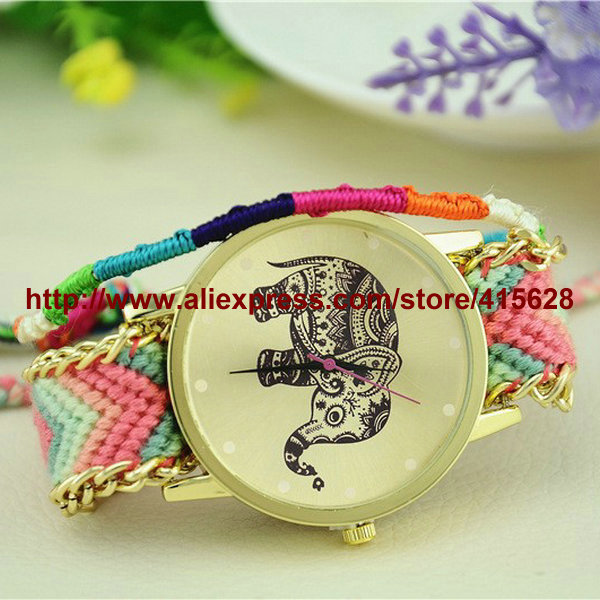 New Brand Handmade Braided Elephant Owl Erfly Friendship Bracelet Watch Geneva Watches Women Quartz 50pcs Lot In S From On