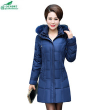 Moms fitted feather cotton Outerwear female medium long section thickening warm Plus size winter casual jacket coat OKXGNZ AF133