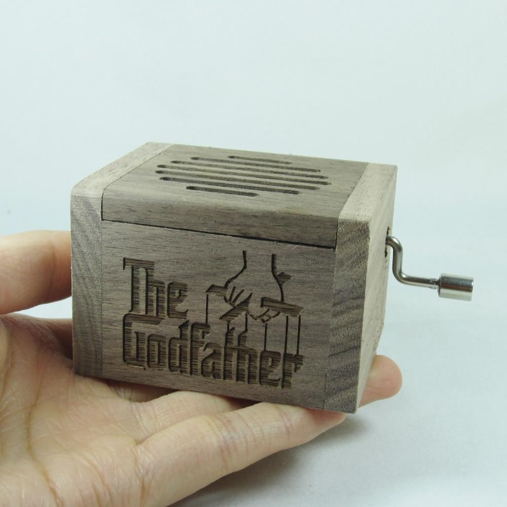 Handmade Nature Wood Hand Crank Music Box Godfather Theme