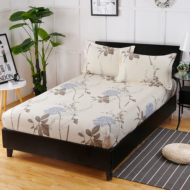 Fashion Home Life Comfortable Breathable Cotton Prints Bedspread Bedding Bedspread Three Sets Fitted Sheet + Pillowcase