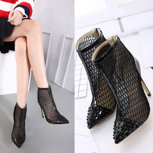 Summer Shoes Woman 2017 High Heel Gladiator Pumps Pointed Toe Lace Up Hollow Out Ladies Shoes, Black Ankle Boots Zip Plus Size
