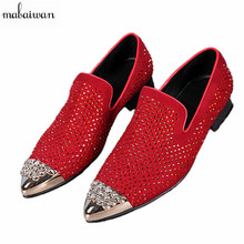 Men Shoes Metal Pointed Toe Slip On Men Loafers Luxury Rhinestone Red Wedding Shoes Men Flats