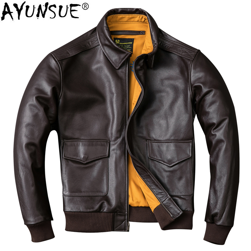 AYUNSUE Real Cow Bomber Jacket Men Clothes 2020 New Vintage Genuine Leather Jackets Plus Size XXXXL Coat Jaqueta De Couro ZL404