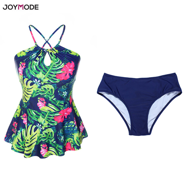 501ec820e0 JOYMODE Print Bikinis Swimwear 2018 Two Piece Ruffle Swimsuit Padded Halter  Tankini Summer Beach Women Bathing Suit Biquinis