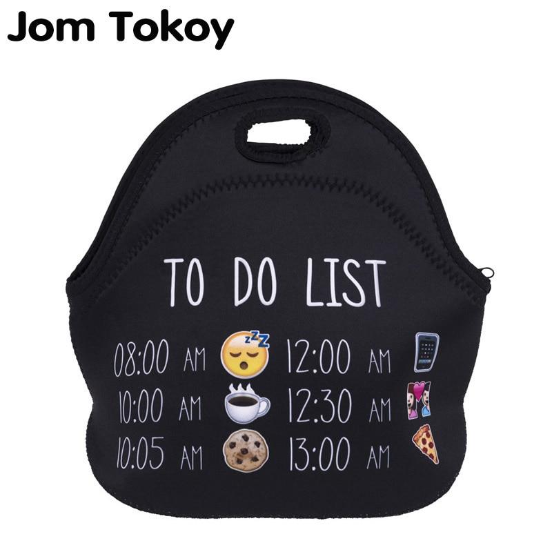 Jom Tokoy list emoji Thermal Insulated 3d print Lunch Bags for Women Kids Thermal Bag Lunch Box Food Picnic Bags Tote Handbags цены онлайн