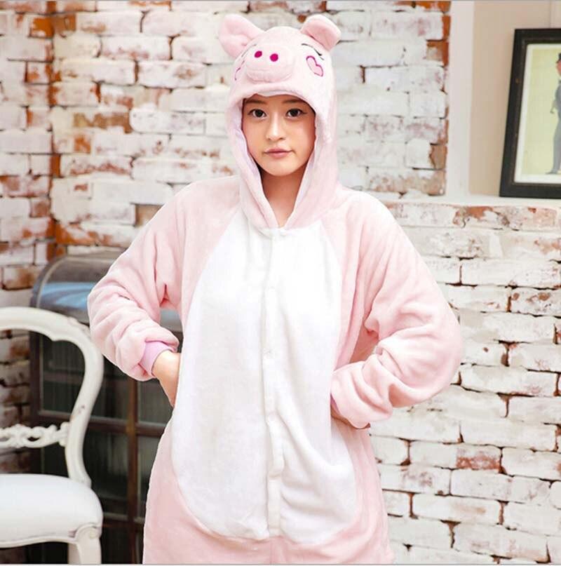 Fashion Flannel Pink Pig Animal Pajamas One Piece Cartoon Sleepwear Unisex Adult Animal Onsies