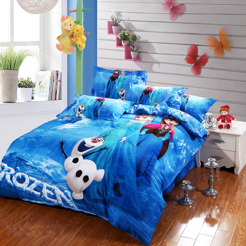 Blue Frozen Elsa And Anna Bedding Sets DISNEY Cartoon Bedspread Cotton Bed  Duvet Covers Girls Bedroom Decor Twin Queen King Size