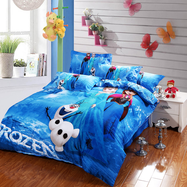 blue Frozen Elsa and Anna bedding sets DISNEY cartoon bedspread ...