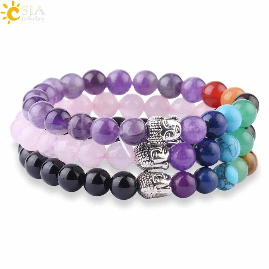CSJA Chakra Natural Stone Elastic Bracelet Buddha Head Beaded Bracelets Reiki Healing Crystal Quartz Yoga Women Men Jewelry F988