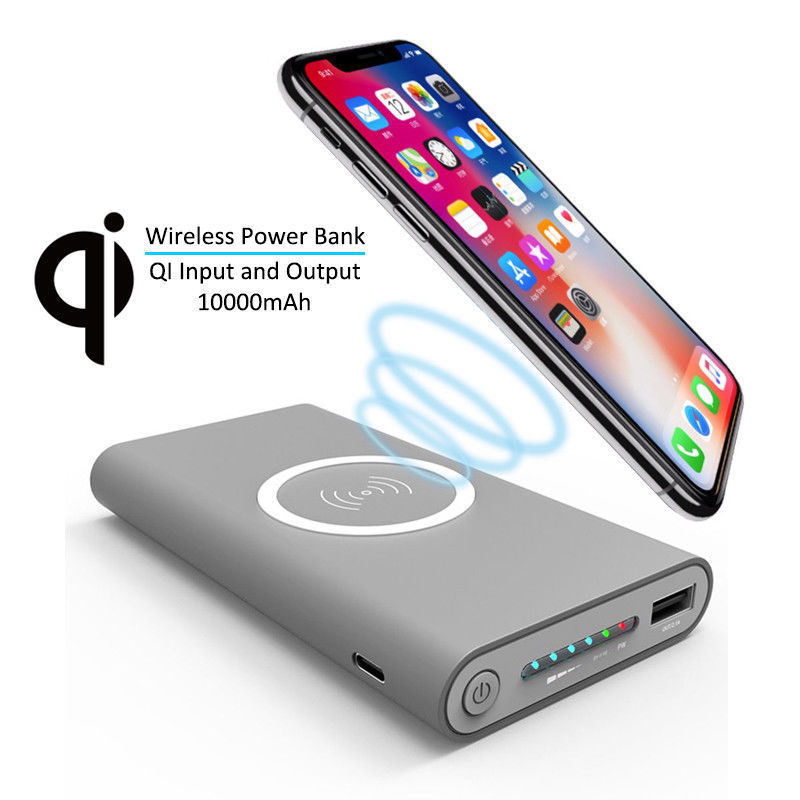 10000mAh Phone Power Bank Qi Wireless Charger For iPhone 8 X Plus for Samsung Galaxy S6 S7 S8 Portable Powerbank Mobile Phone