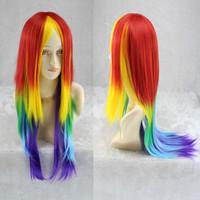 70cm Long Synthetic Cosplay Rainbow Wig Dash Multi Color Heat Resistant Cosplay Party Daily Soft Touch