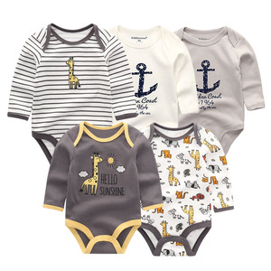 Image 1 - 5 PCS/lot newbron winter long sleeve baby rompers set baby jumpsuit girls baby girl romper roupa de bebe baby boy clothes