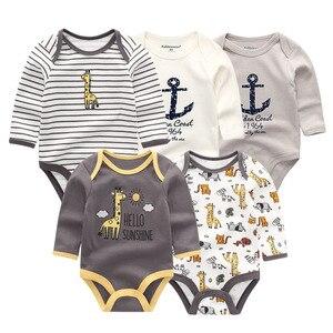 Image 5 - 5 יח\חבילה newbron 2018 חורף ארוך שרוול תינוקת ompers כותנה סט תינוק סרבל בנות roupa דה bebe תינוק ילד בגדים