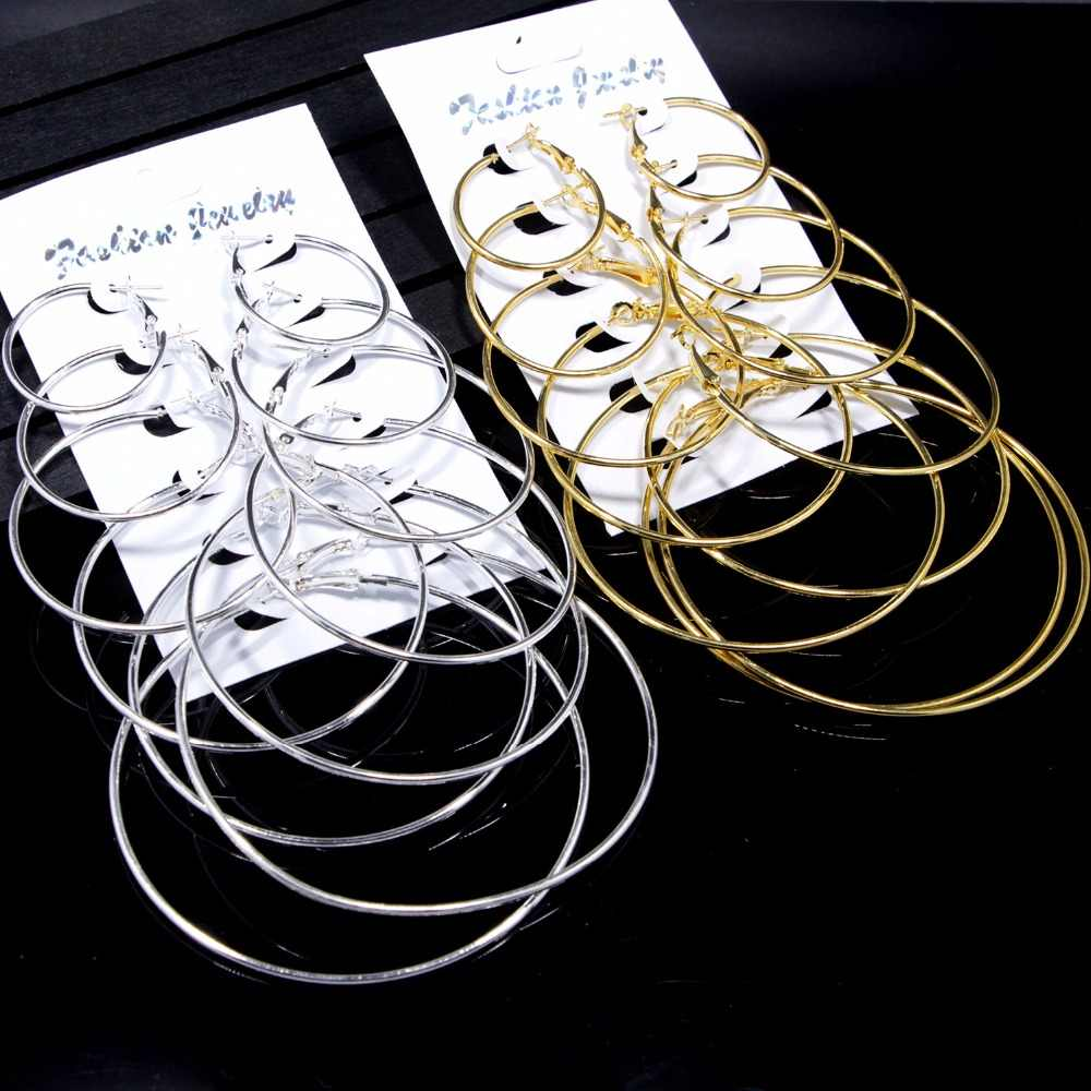 kathline jewelry huge hoop earring set 1 lot 6 pairs/set for women gold silver color circle round fashion earrings