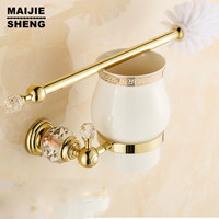Luxury Golden European Style Brass Crystal Toilet Brush Holder Gold Plated Toilet Brush Bathroom Products Bathroom