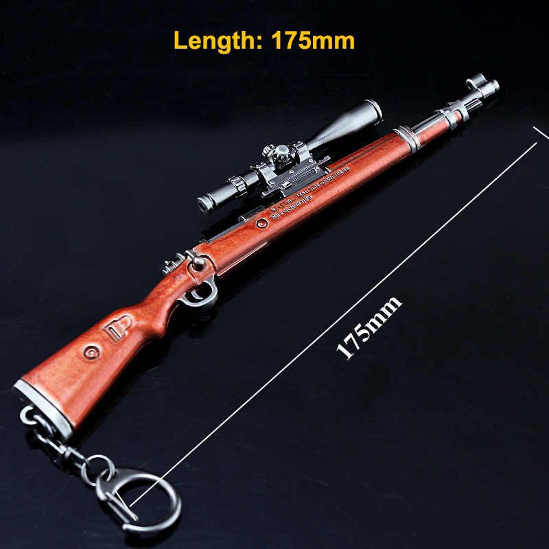 Маленький 17,5 см Kar98K брелок в виде оружия AKM AWM снайперский игрушечный пистолет брелоки в виде оружия сплав Брелоки для ключей для мужчин игра PUBG вентиляторы
