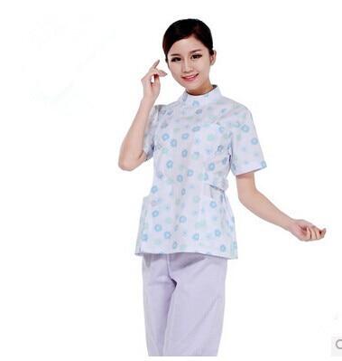 674318cbd30 New Arrival Female Nurse Uniform Light Blue Small Floral Design Medical  Cloth Beauty Physician Service Workwear
