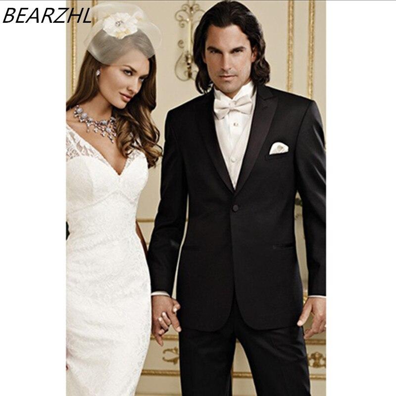 614c6240b223d Smoking de mariage pour hommes costumes noir un bouton fait sur commande  costumes de bal deux pièces costume 2017