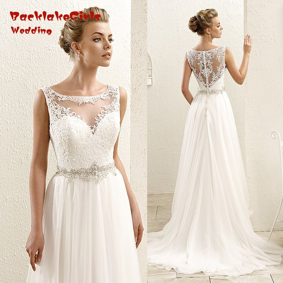wedding dresses cheap bohemian scoop summer tank beach lace bridal gowns chiffon illusion 2016 bodice china