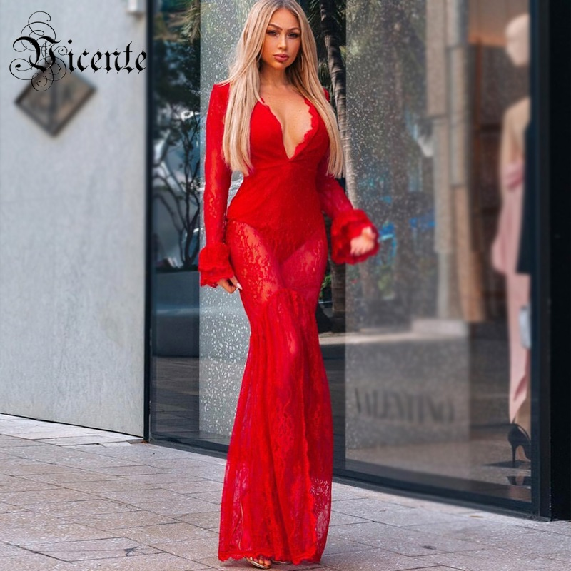 Vicente HOT 2019 New Chic Graceful Lace Sexy Deep Vneck Long Flaed Sleeves Wholesale Women Celebrity Bandage Maxi Long Dress