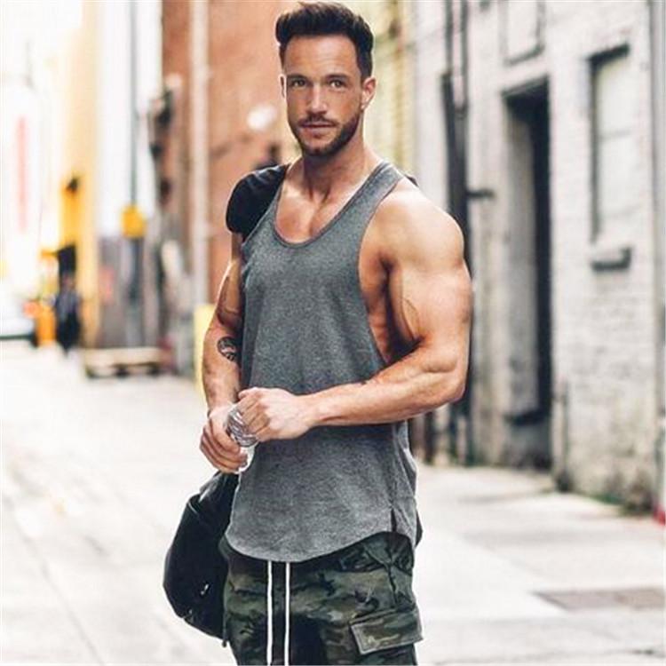 Brand gym clothing cotton singlets canotte bodybuilding stringer tank top men fitness shirt muscle guys sleeveless vest Tanktop