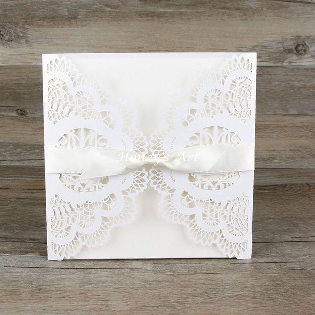 buy 50pcs lot wedding invitations laser floral paper