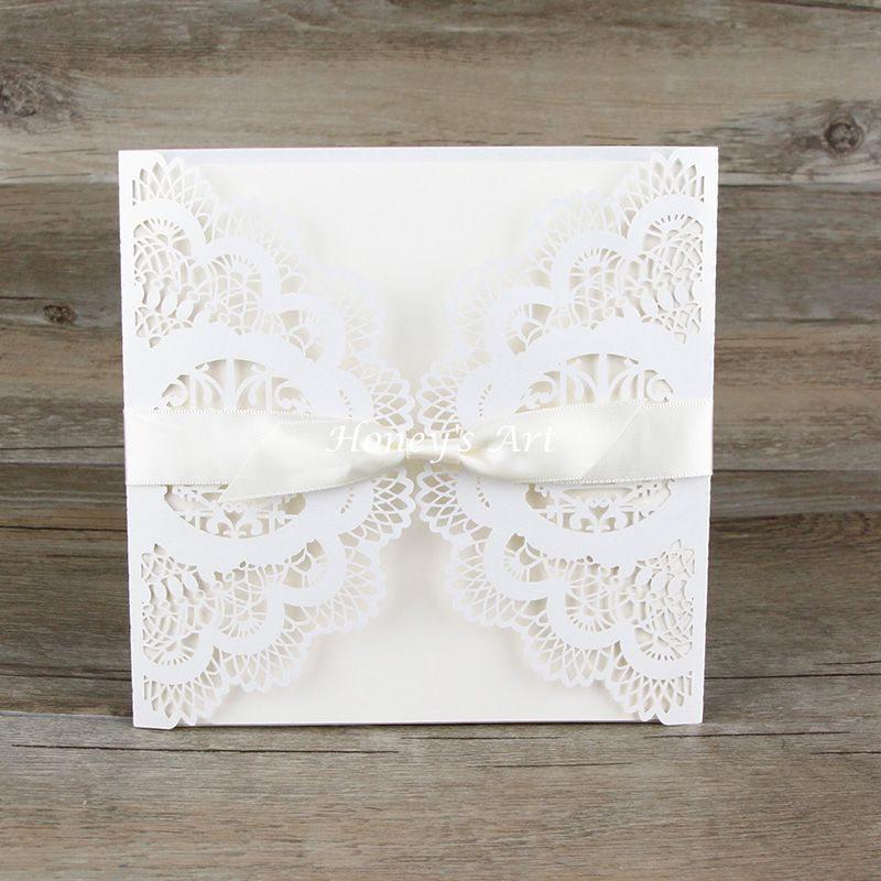 50pcs/lot Wedding Invitations Laser Floral Paper Lace With Envelope Elegant  Peony Wedding Invitation DIY