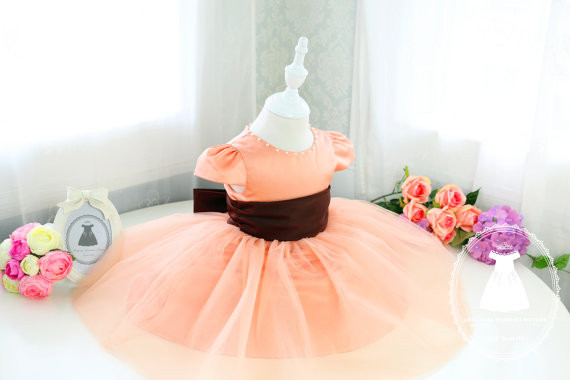 купить Unique Flower Girl Dress Toddler tutu glitz pageant dress with Brown Sash infant baby birthday dress дешево