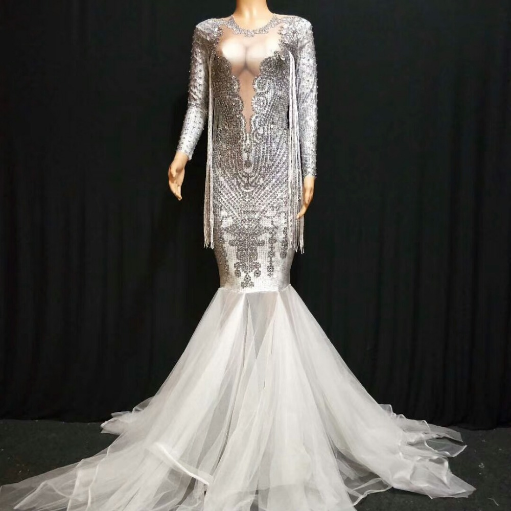 Sexy Sparkly Crystals Lace Table Lamp Mesh Rhinestone Dress Birthday Celebrate Stones Dress Fringes Costume Dance