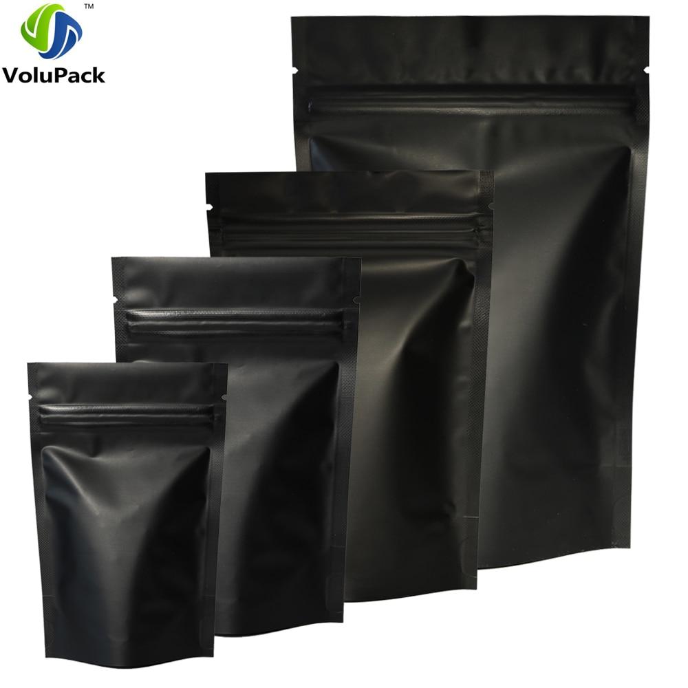 High Quality 100pcs Heat Seal Zip Lock Package Bags Aluminum Foil Mylar Tear Notch Matte Black Stand Up Bag Wholesale(China)