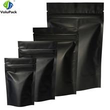 High Quality 100pcs Heat Seal Zip Lock Package Bags Aluminum Foil Mylar Tear Notch Matte Black Stand Up Bag Wholesale