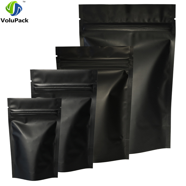 High Quality 100pcs Heat Seal Zip Lock Package Bags Aluminum Foil Mylar Tear Notch Matte Black Stand Up Bag Wholesale