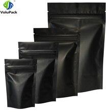 Hoge Kwaliteit 100Pcs Heat Seal Zip Lock Pakket Zakken Aluminiumfolie Mylar Inkeping Matte Black Stand Up Tas groothandel