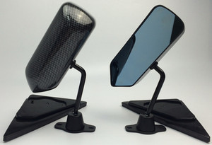 Image 1 - 1Pair Universal Car Rearview Mirror Carbon Fiber Autos Blue Rear View Mirror Carbon racing Side Glass Wide Angle Metal Bracket