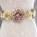 Fashion flower Belt,Girl Woman Sash Belt Wedding Sashes belt  with flower headband Beige 1 SET