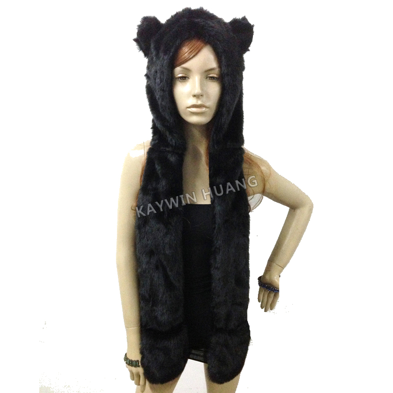 Free Shipping 1pc/Lot Winter Nice Quality Crazy Cat Faux Fur Hood Animal Hat With Ear Flaps and Hand Pockets 3 in 1 Function 134 2khz rfid animal identification round pig ear tag for livestock animal tracking and indentification 500pcs lot good quality