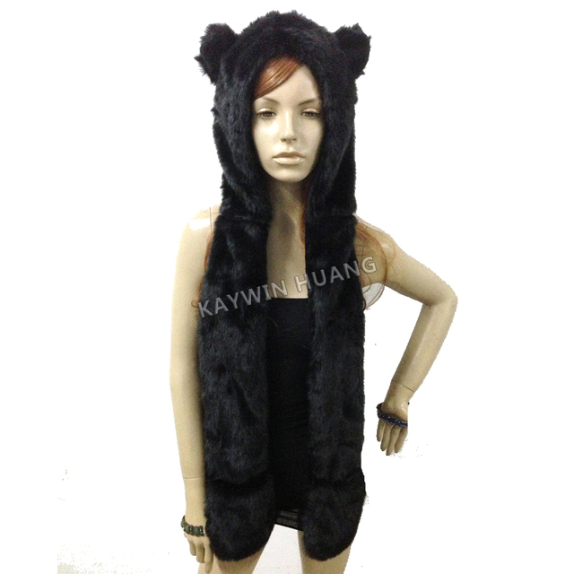 Free Shipping 1pc/Lot Winter Nice Quality Crazy Cat Faux Fur Hood Animal Hat With Ear Flaps and Hand Pockets 3 in 1 Function