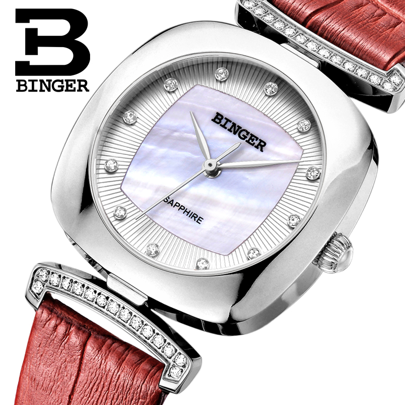 Switzerland Binger Women's watches fashion luxury watch leather strap quartz gold sapphire crystal diamond Wristwatches B1157-1 2017 new binger fashion casual cow leather watches waterproof wristwatches hours for man sapphire orange quartz watch