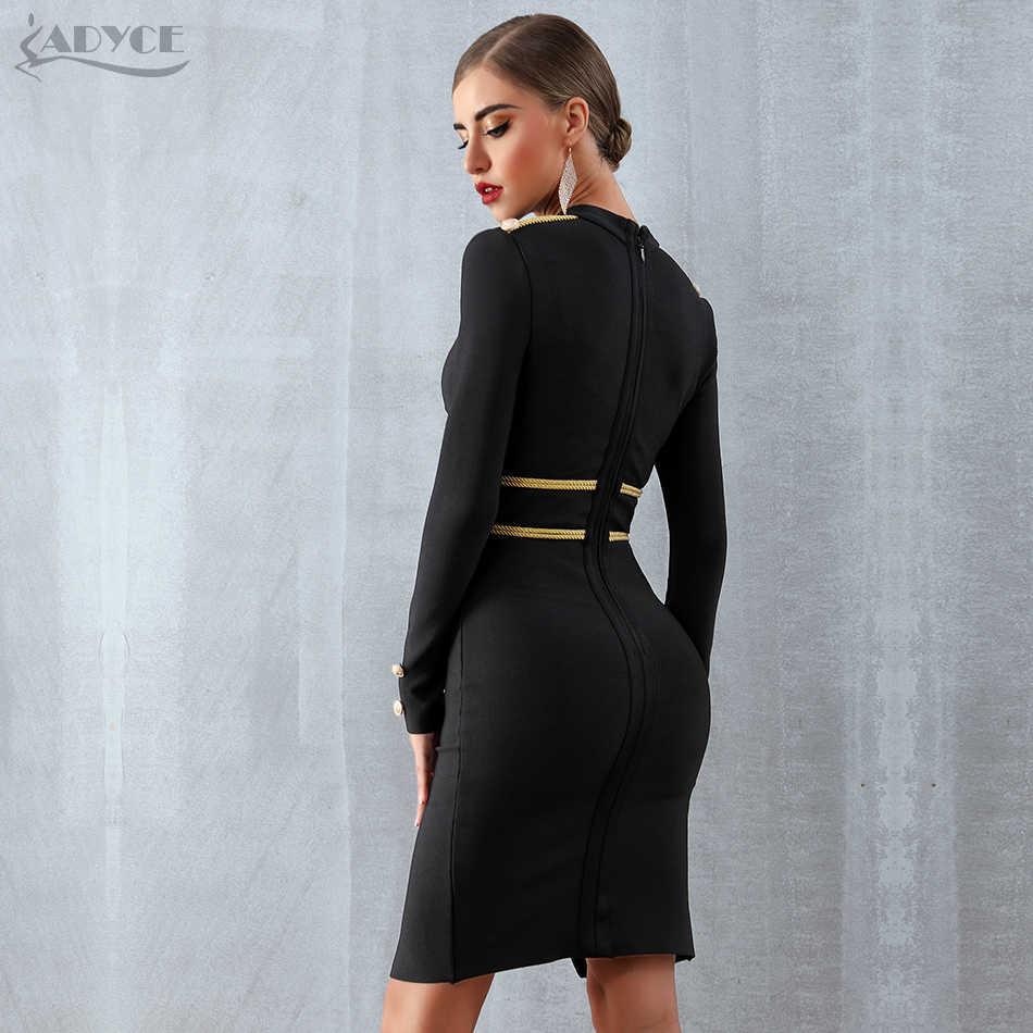 Женское вечернее платье ADYCE, черноеоблегающее бандажное платье миди с длинным рукавом в стиле звезд, для клуба, для зима, 2019