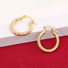 Bridal Men Jewelry Gold Color Brincos Top Quality Women Hoop Earrings Yellow Wave Hollow Earrings