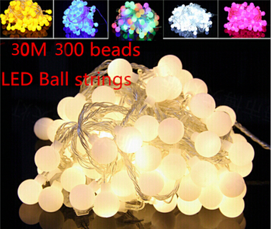Fairy 30m 300 LED ball string christmas lights new year holiday party wedding luminaria decoration Garland lamps indoor lighting 5m 20 big balls led ball string lights curtain garland lamp for fairy wedding party new year outdoor christmas holiday lighting