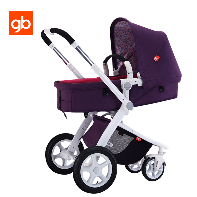 GB High Scenery 2 in 1 Baby Stroller Four Wheels Shockproof Baby Pram Pushchair Sit & Lie Reversible Seat Folding Stroller stroller car seat newborn pram 3 wheels baby stroller 3 in 1 prams pushchair pram stroller travel system free shipping