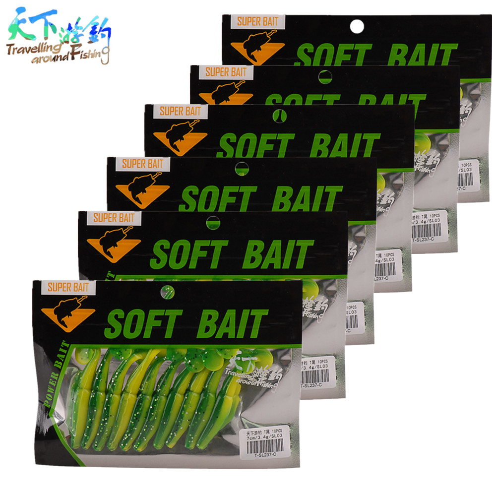 Soft Fishing Lure 6 Bags/set 7cm 3.4g Total 60pc Baits Best price from the TAF Store Colors Silicone Worm Wobblers