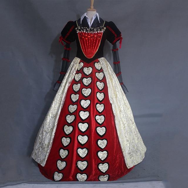 alice in wonderland red queen heart queen cosplay ball gown medieval ...