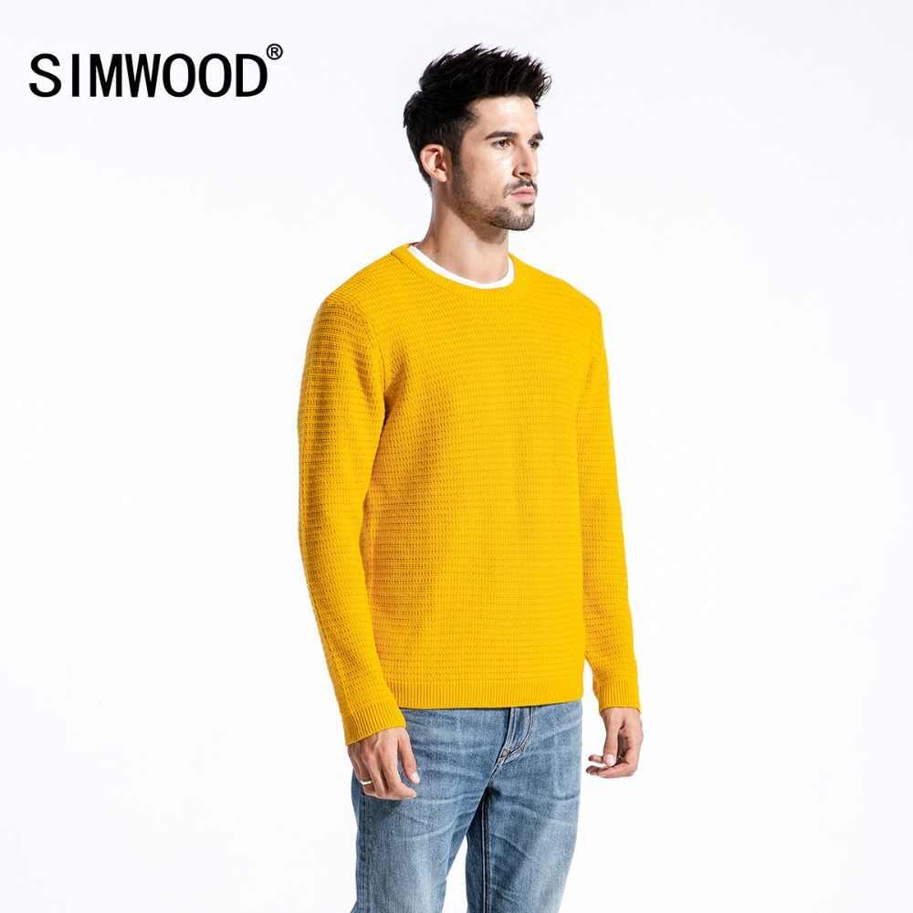 Simwood Merek Sweater Pria 2019 Musim Gugur Musim Dingin Fashion Pria Pullover Rajutan Sweater Slim Fit Pria Plus Ukuran Kualitas Tinggi 180374