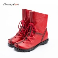 BeautyFeet Plus Size Genuine Leather Women Boots 2017 Spring Autumn Fashion Pleated Ankle Boots Warm Soft