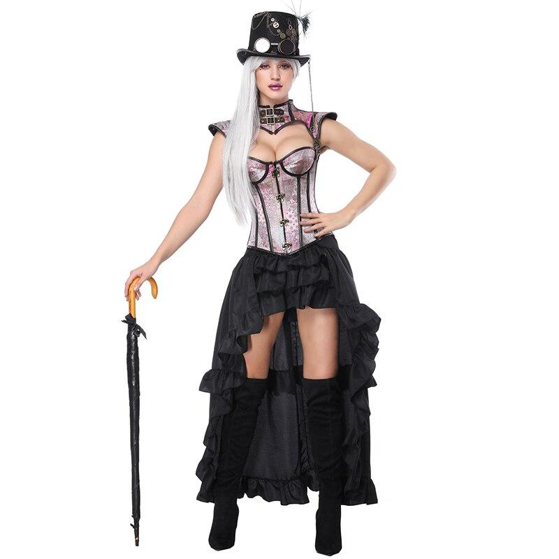 Armure rose Vintage Burlesque robe Sexy gothique Costume victorien Steampunk vêtements corset et jupe ensemble avec veste