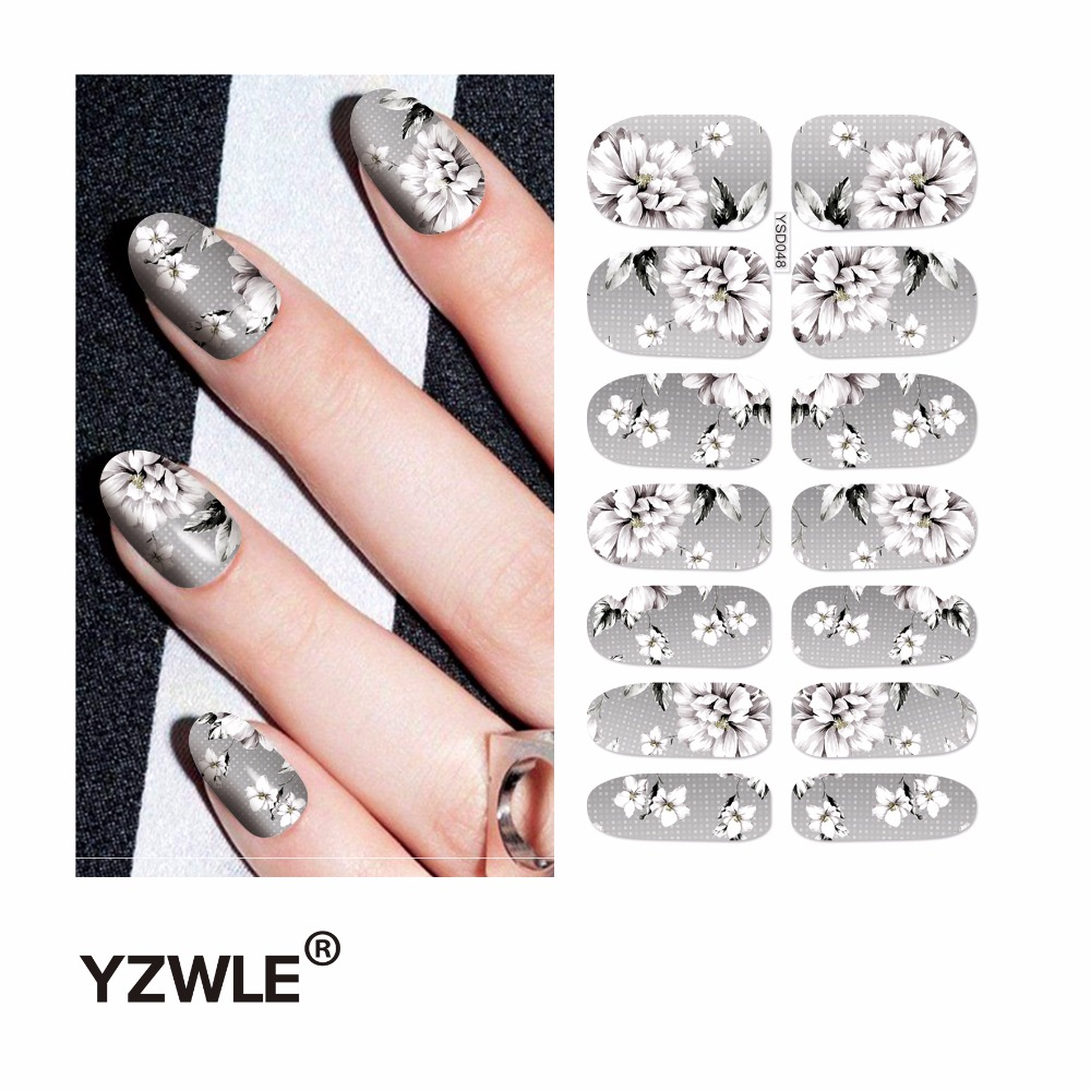 YZWLE 1 Sheet Water Transfer Nails Art Sticker Manicure Decor Tool Cover Nail Wrap Decal (YSD048) yzwle 1 sheet cartoon watermark water transfer design nail art sticker nails decal manicure tools